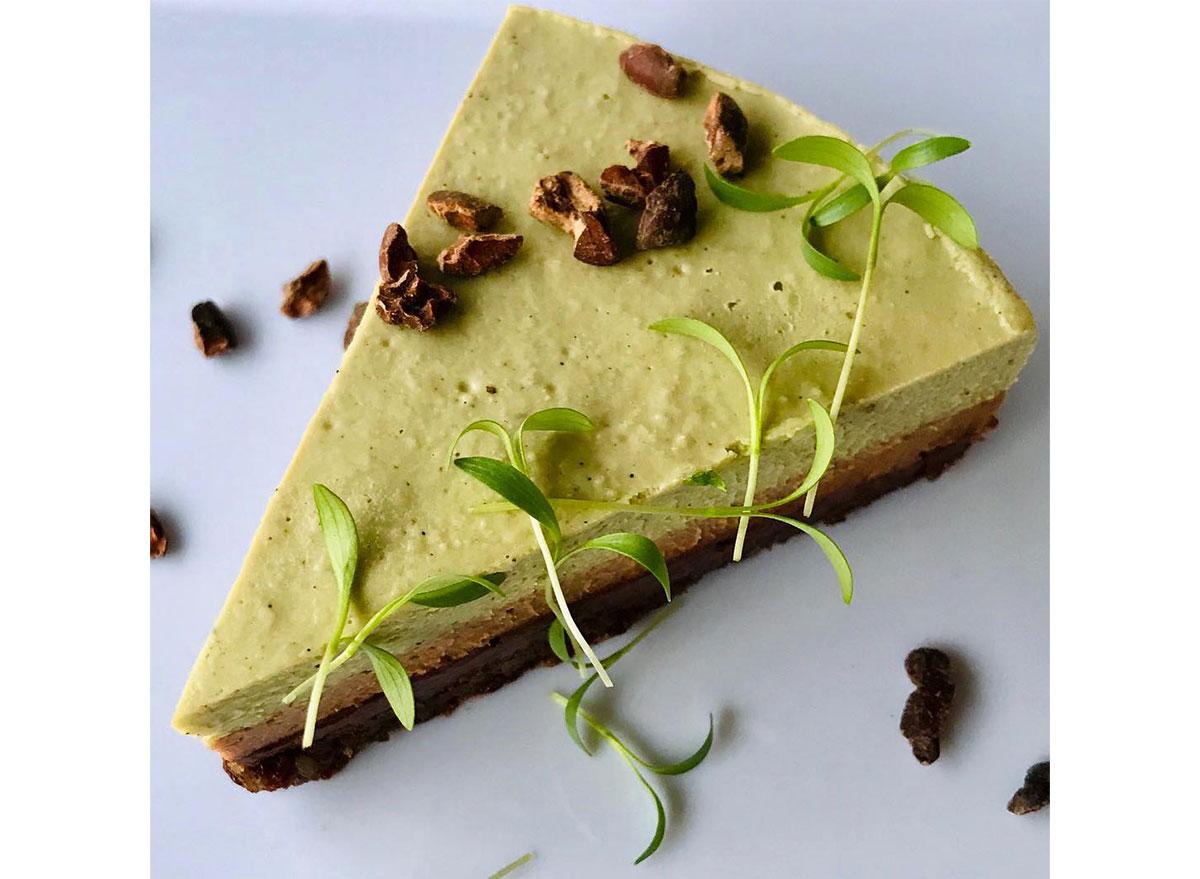 slice of matcha mint cheesecake