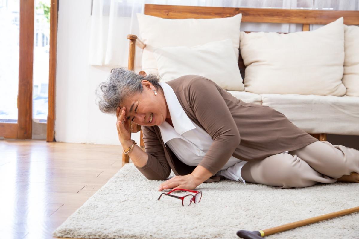 Elderly stroke, Asian older woman suffer fall.