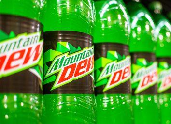plastic bottles of mountain dew