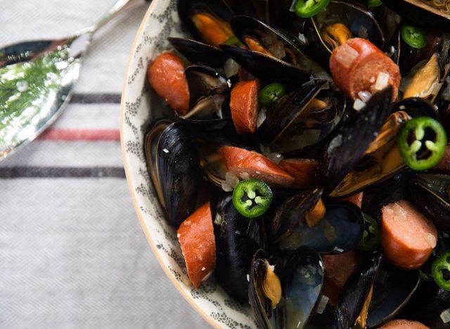 mussels and chorizo