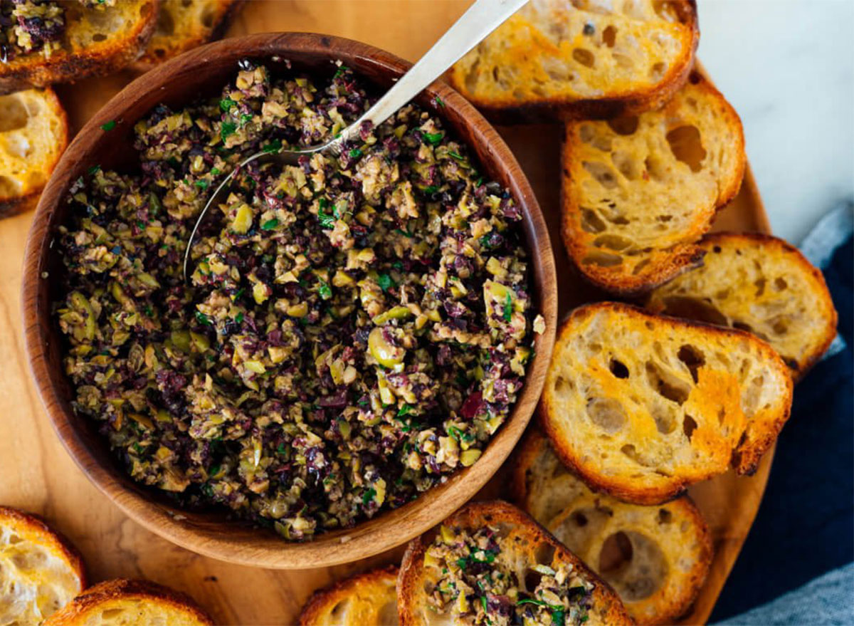olive tapenade with bread