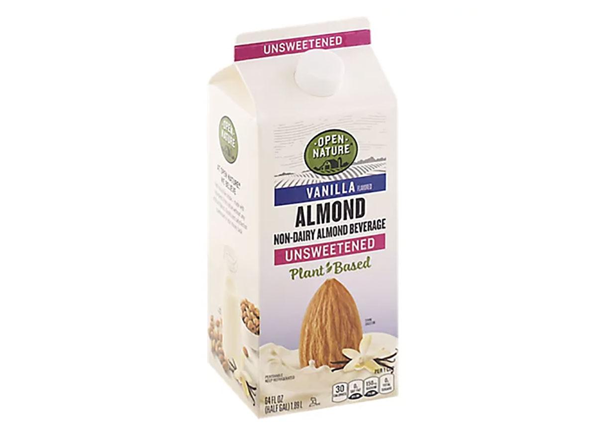 carton of open nature almond milk