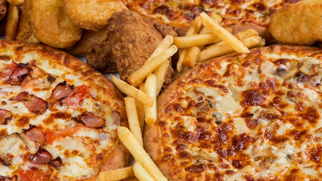 pizza chicken nuggets and fries
