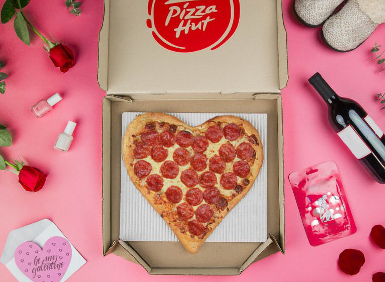 heart-shaped pizza from Pizza Hut