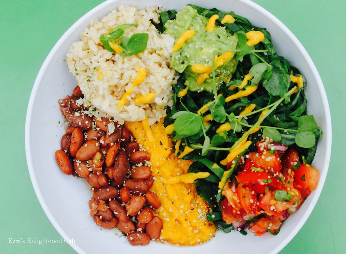 raw food bowl with vegetables and rice