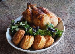 roast whole chicken with biscuits