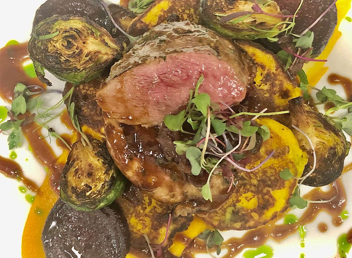 sliced steak and potatoes closeup