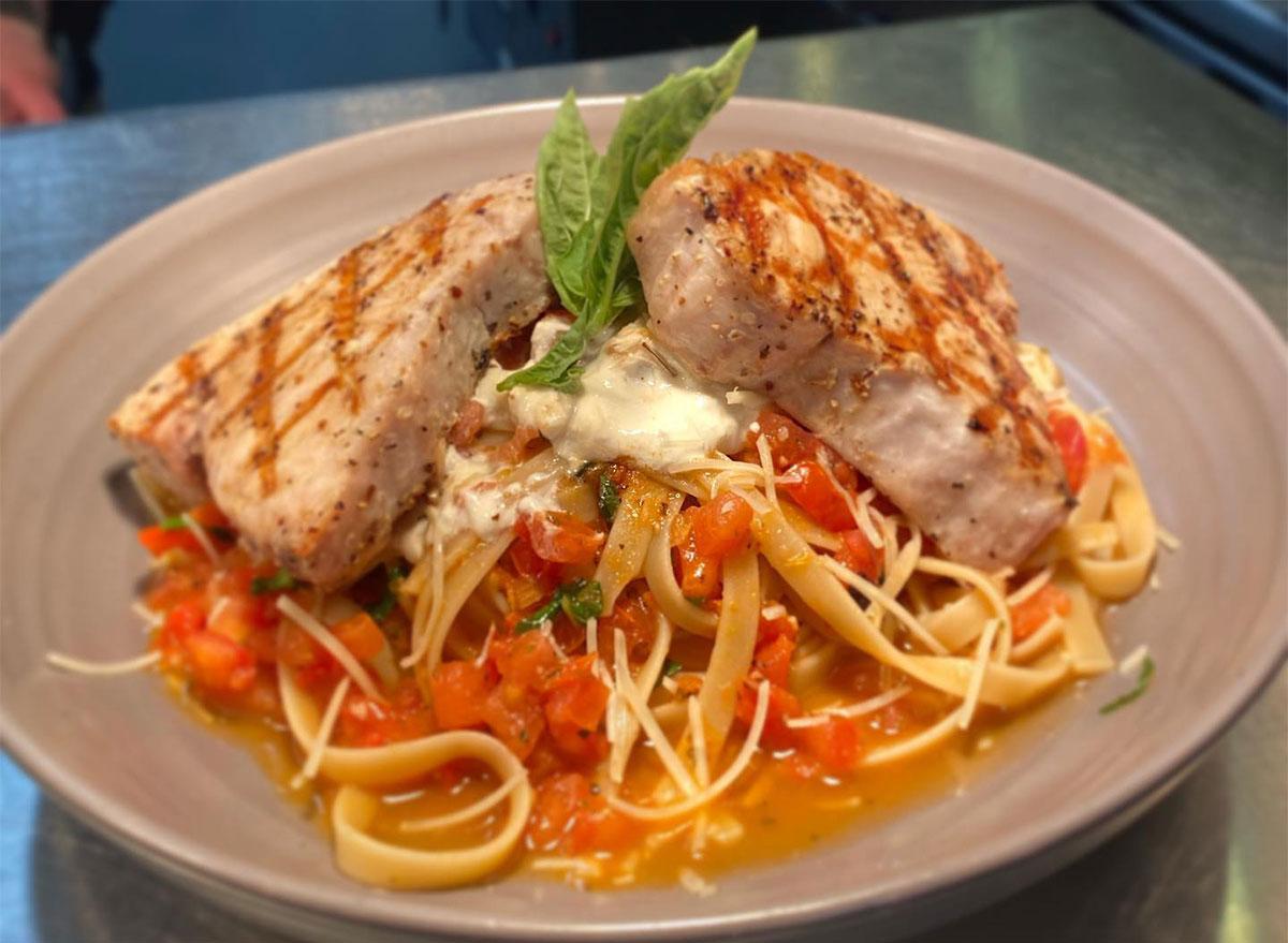 swordfish pomodoro pasta dish