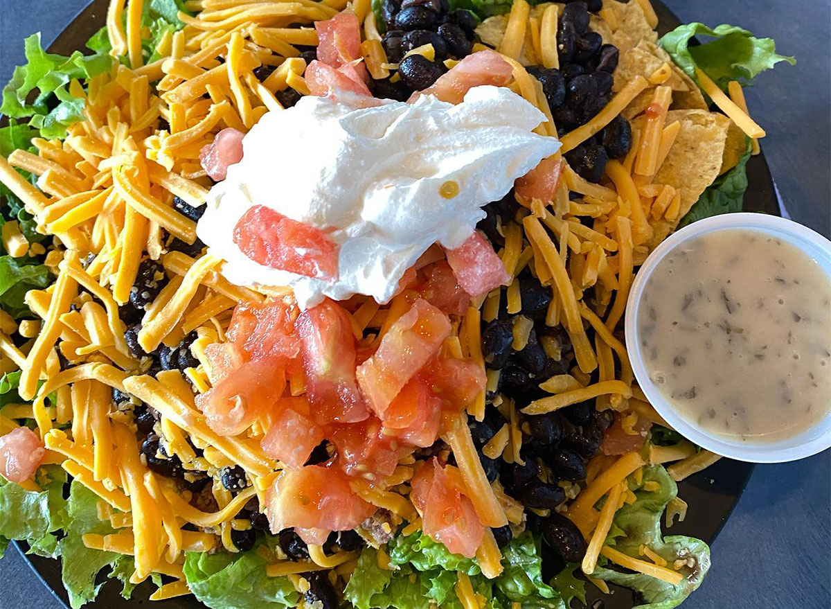 taco salad with tomatoes and cheese