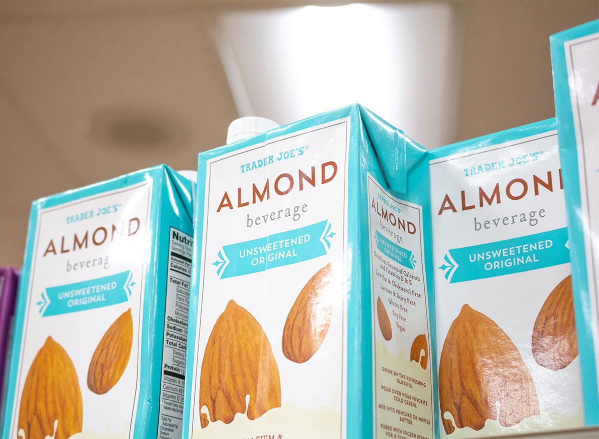 trader joes almond beverage cartons on store shelf