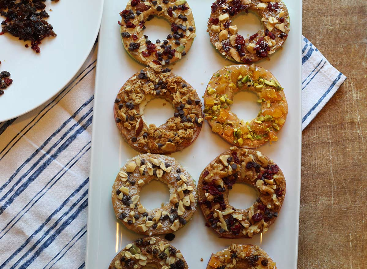 apple ring slices with decorative toppings