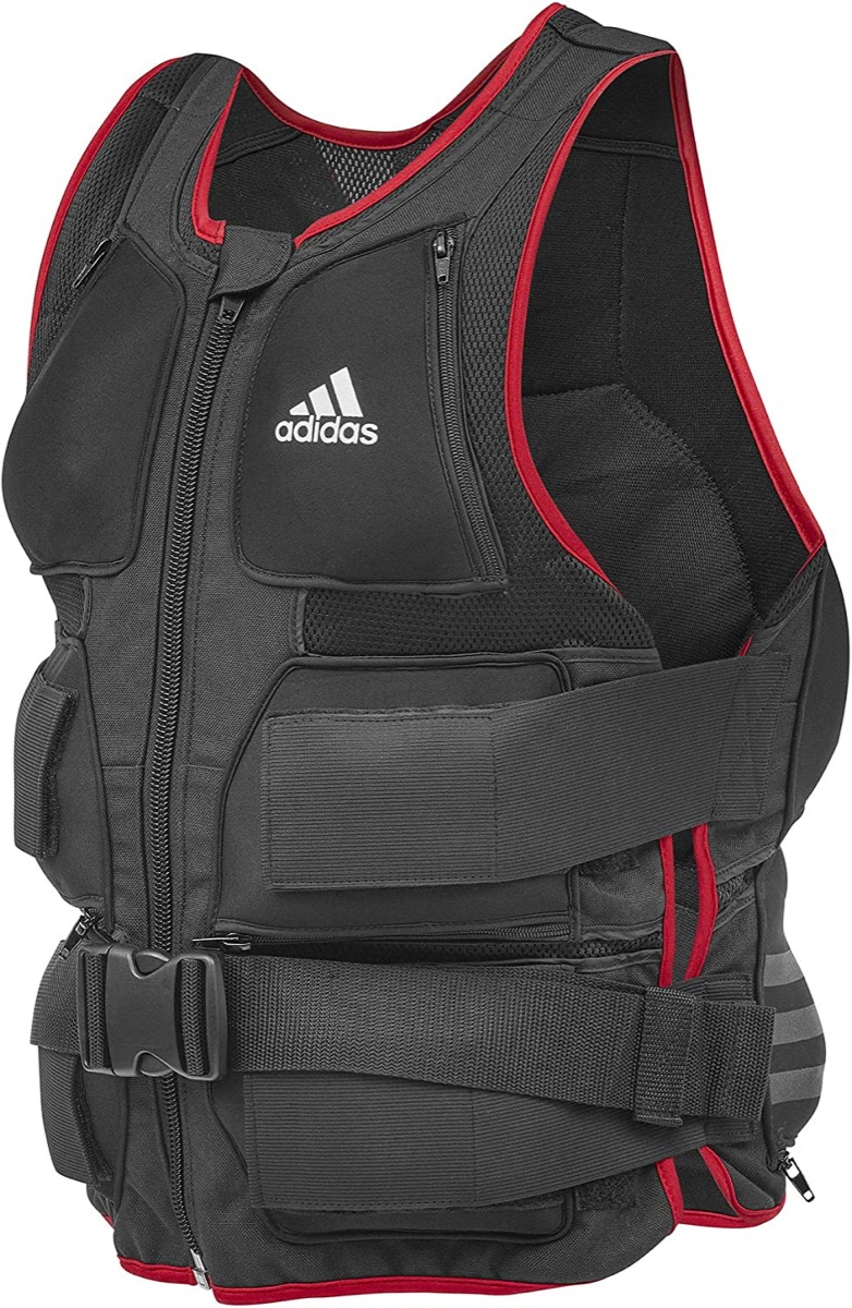 black and red weighted adidas vest