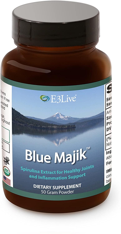 blue majik spirulina powder in jar