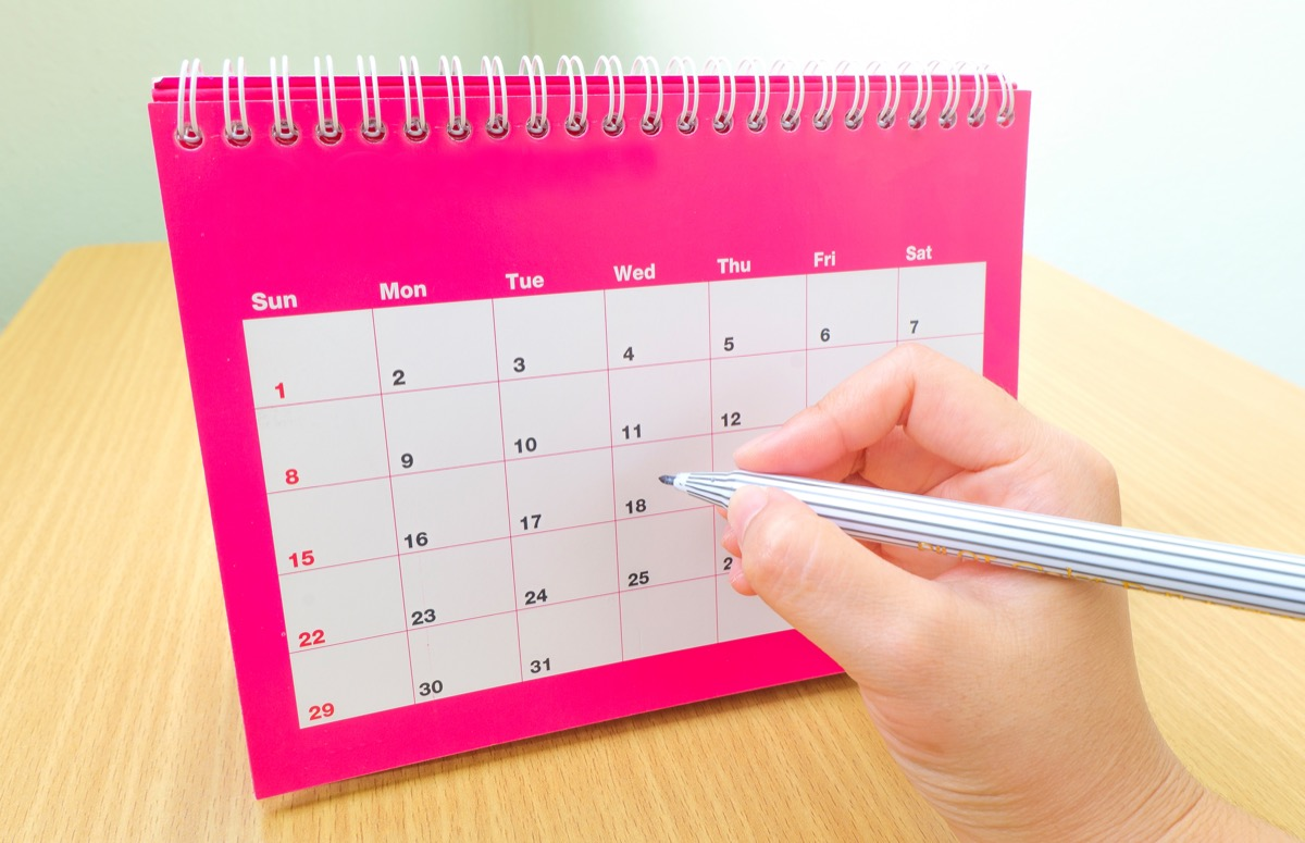 Event date in a calender marked with a pen