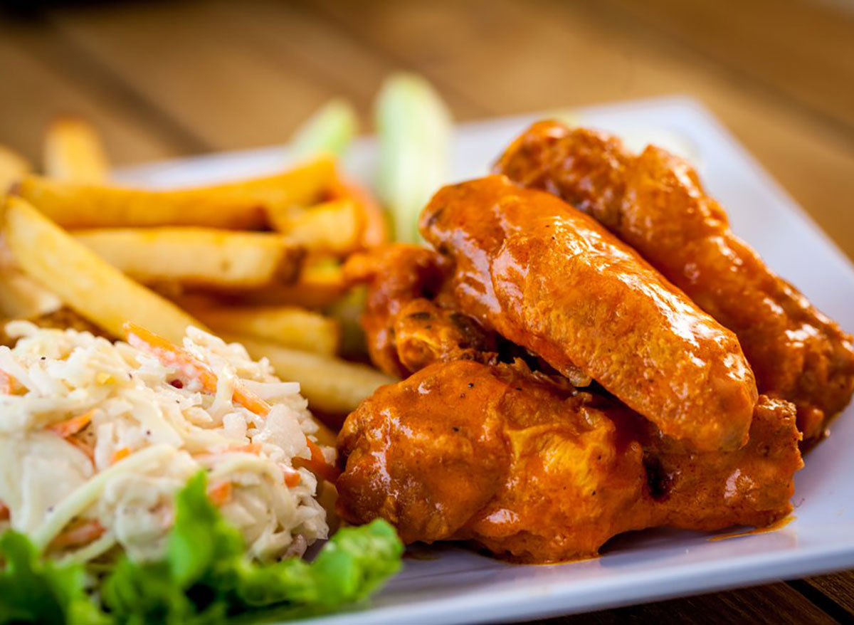 chicken wings with fries and coleslaw