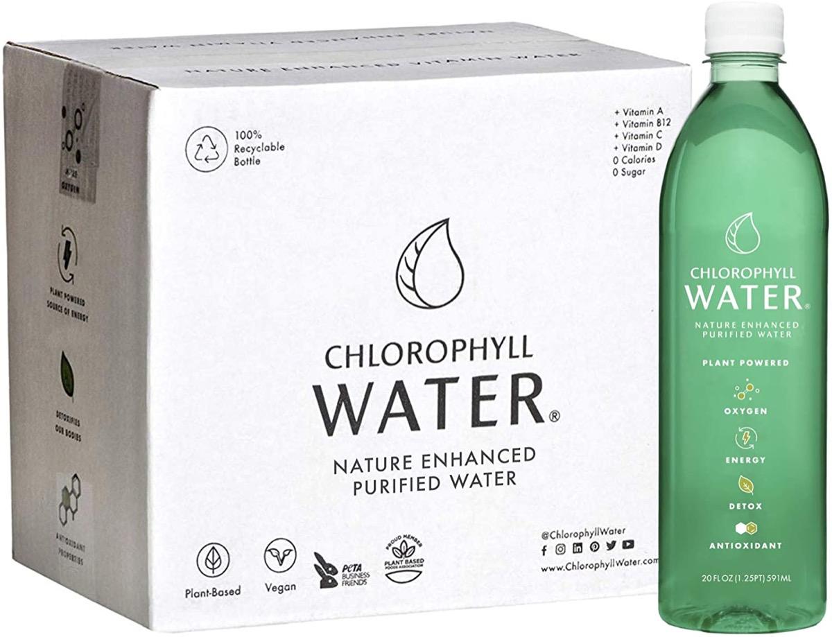 bottle of green chlorophyll water
