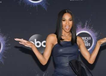 ciara in blue dress on red carpet