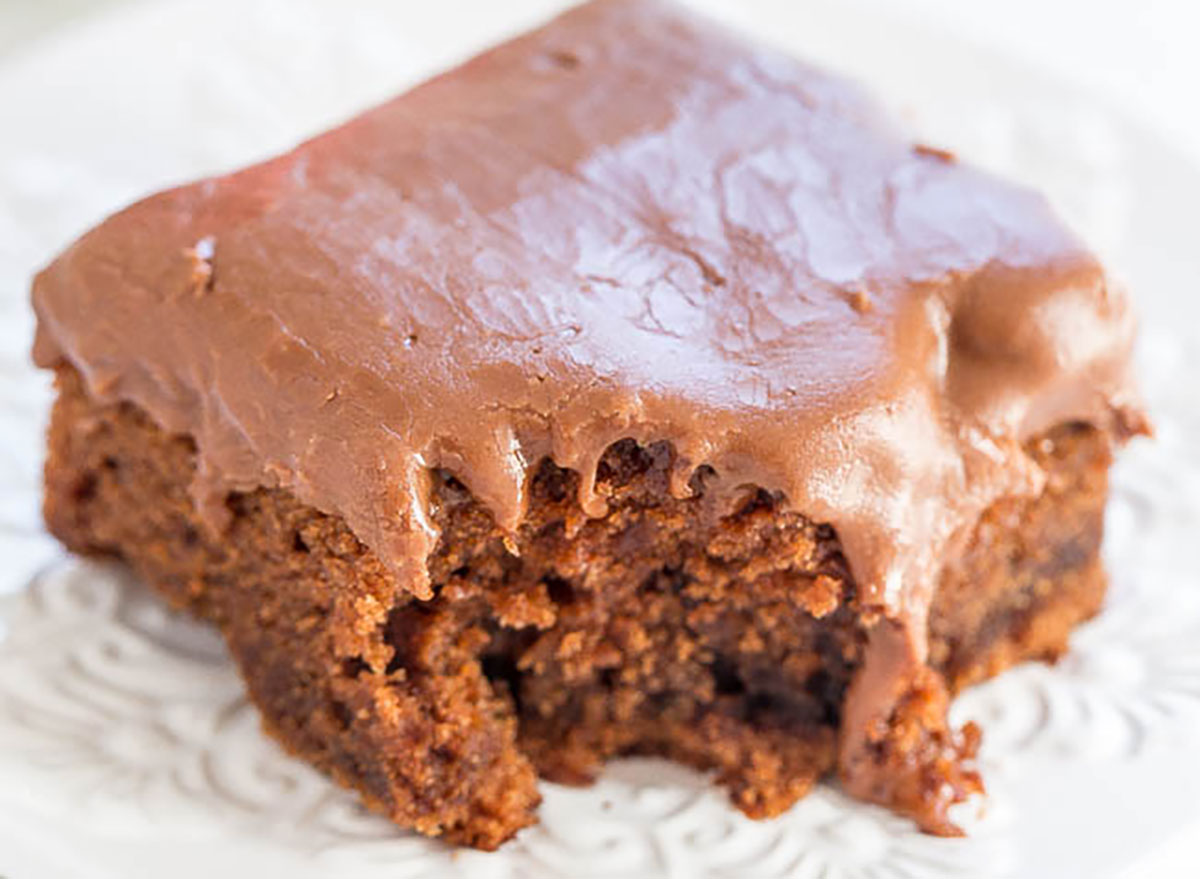 coca cola cake slice with frosting
