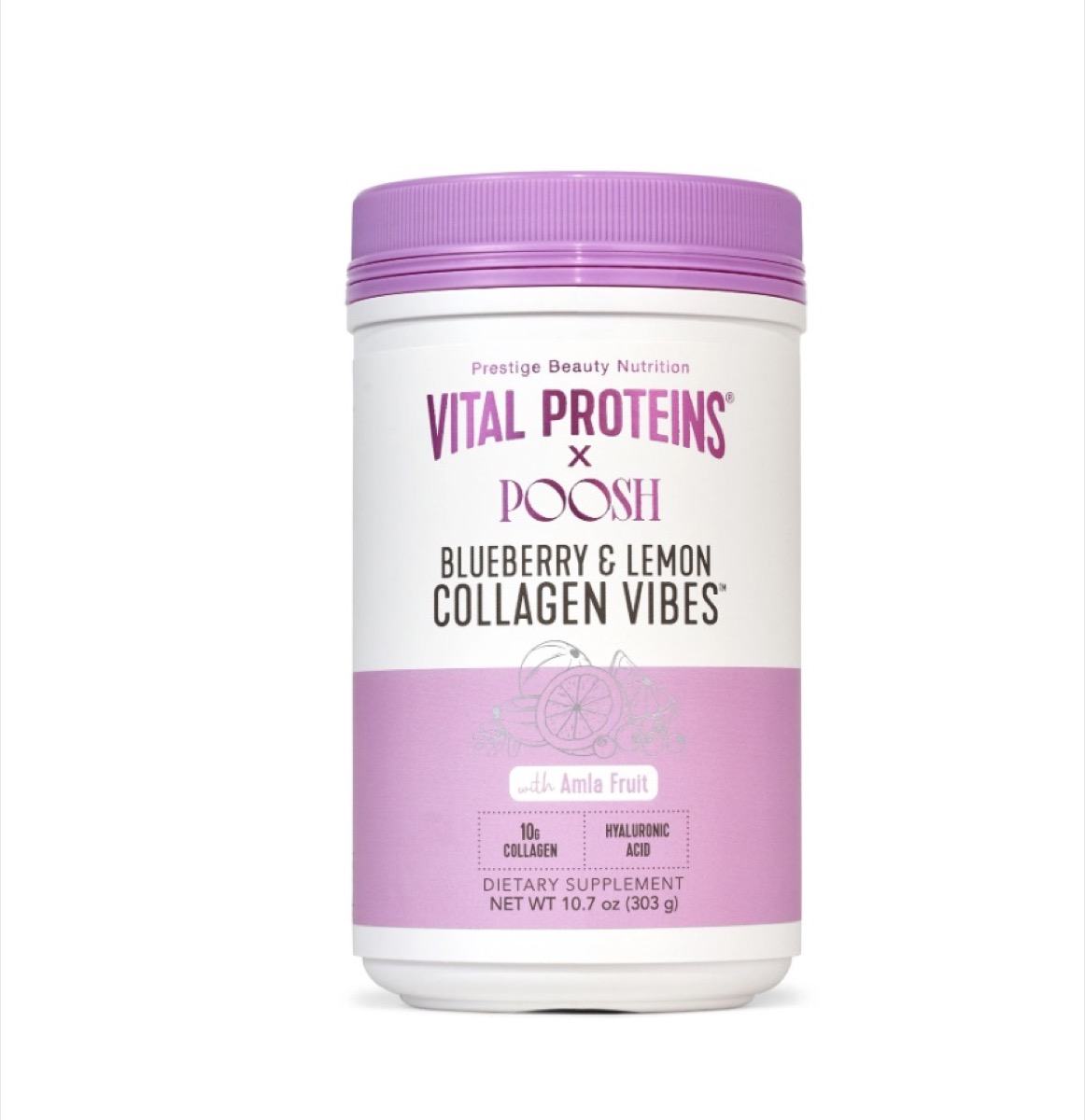 purple and white jar of collagen vibes powder
