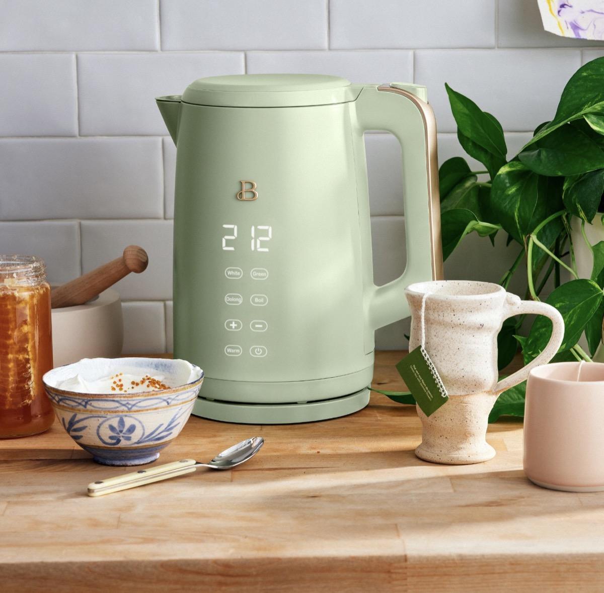 sage green touchscreen kettle