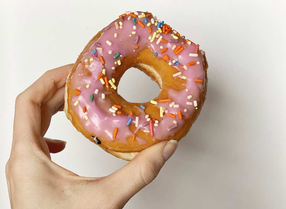 dunkin strawberry frosted donut