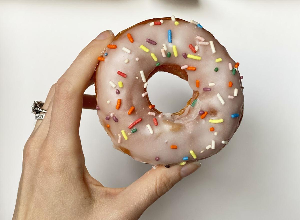 dunkin vanilla donut with sprinkles