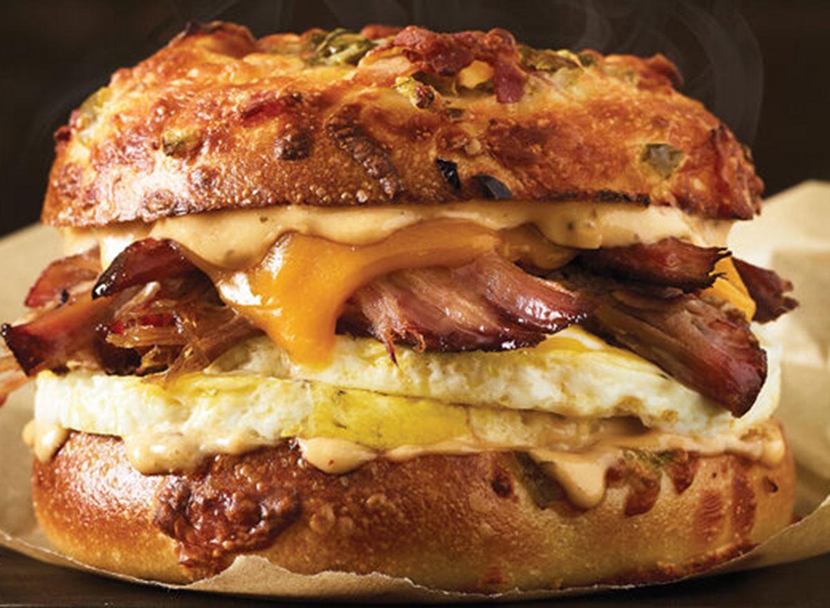einstein bros texas brisket egg sandwich