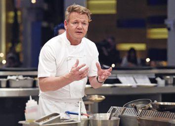 gordon ramsay in chef's coat in kitchen