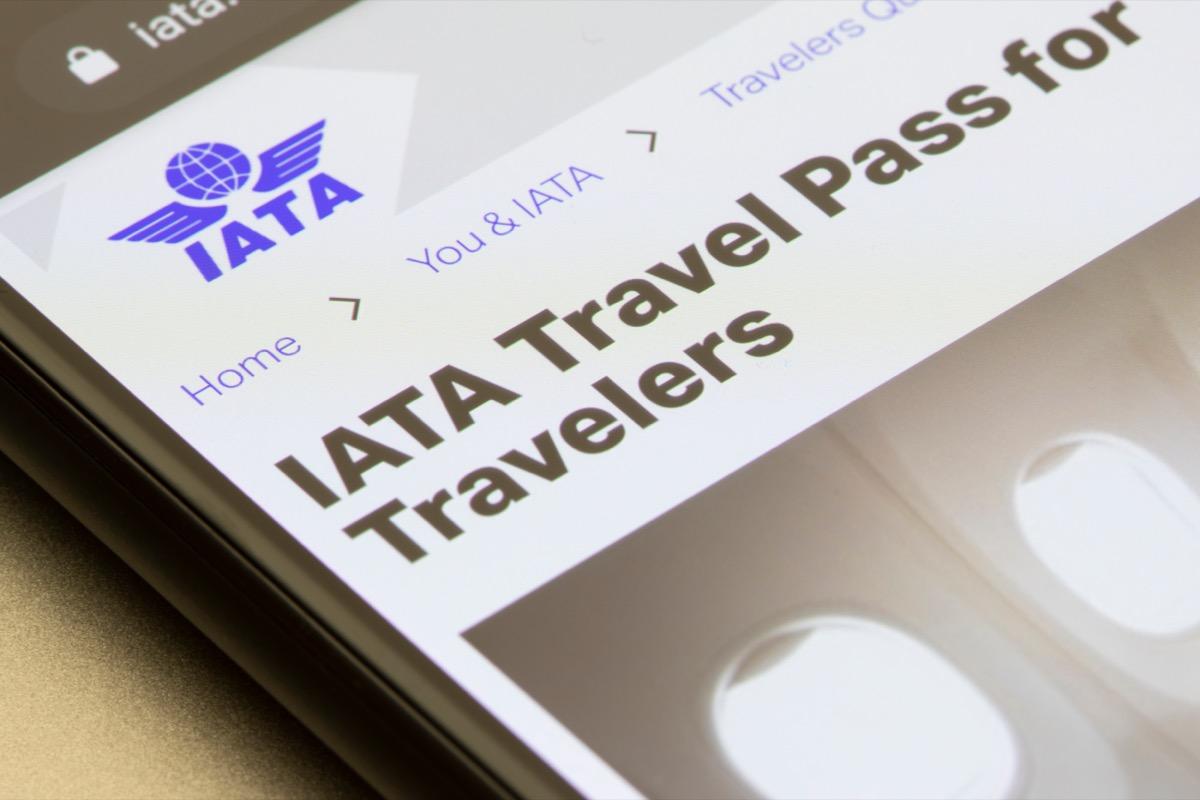 IATA travel pass on a mobile phone.