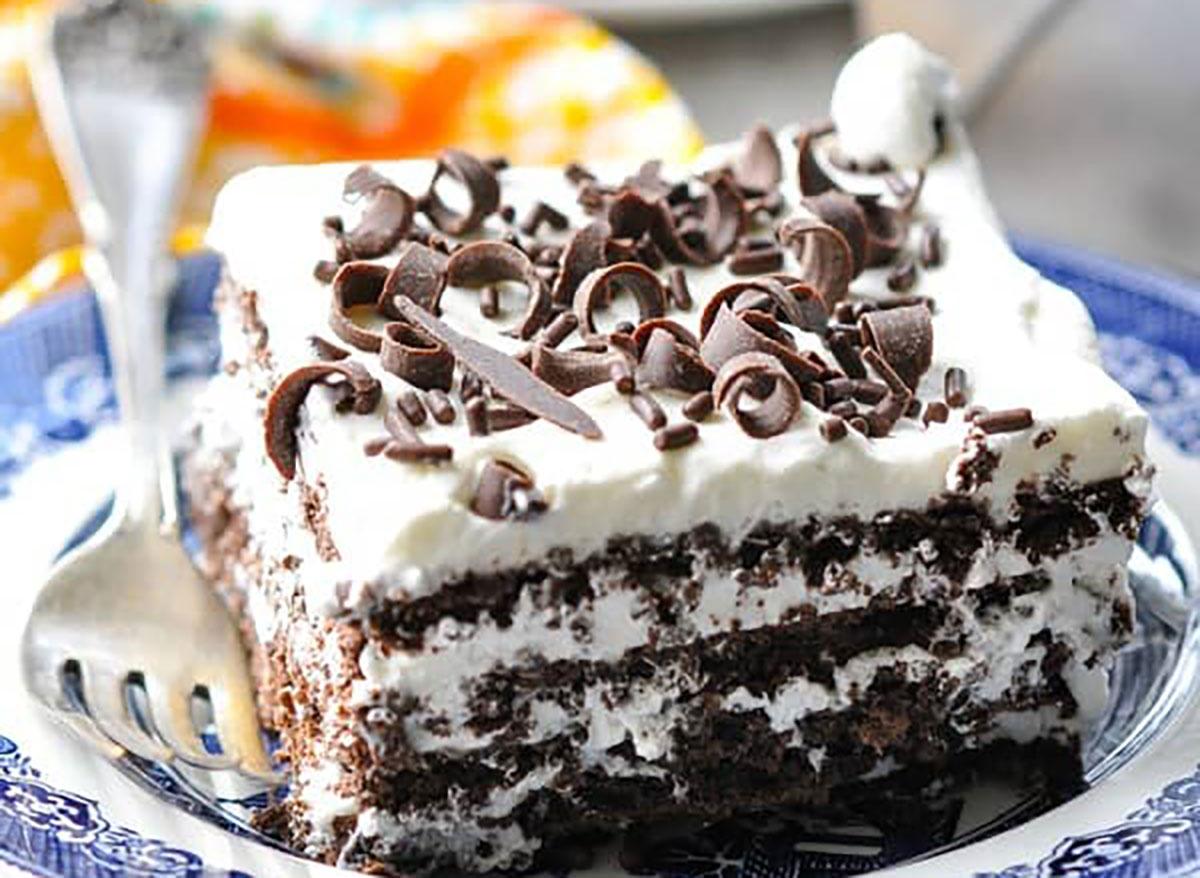 slice of icebox cake