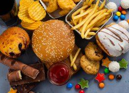 pile of unhealthy junk foods