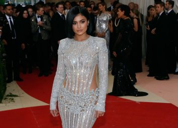 kylie jenner in silver dress on red carpet