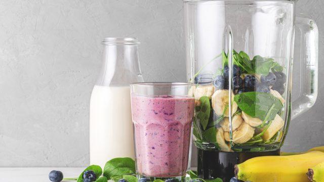blueberries bananas spinach almond milk smoothie