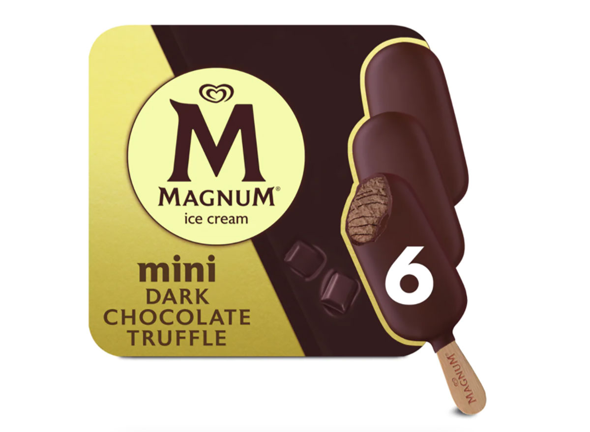 box of magnum chocolate truffle ice cream bars