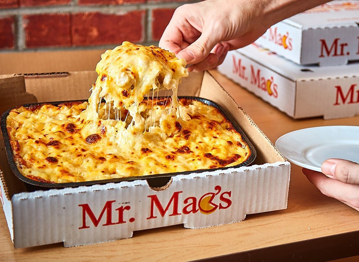 box of takeout mac and cheese