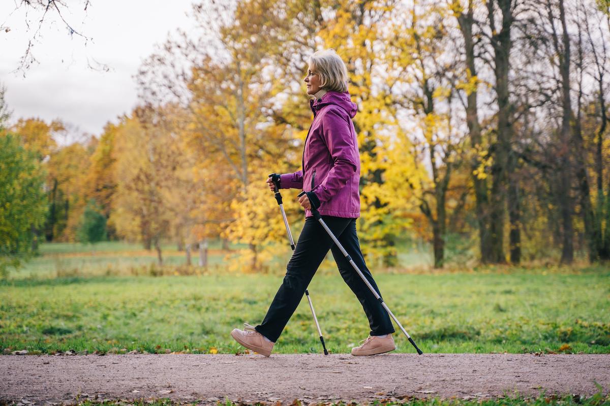 older woman on a brisk walk