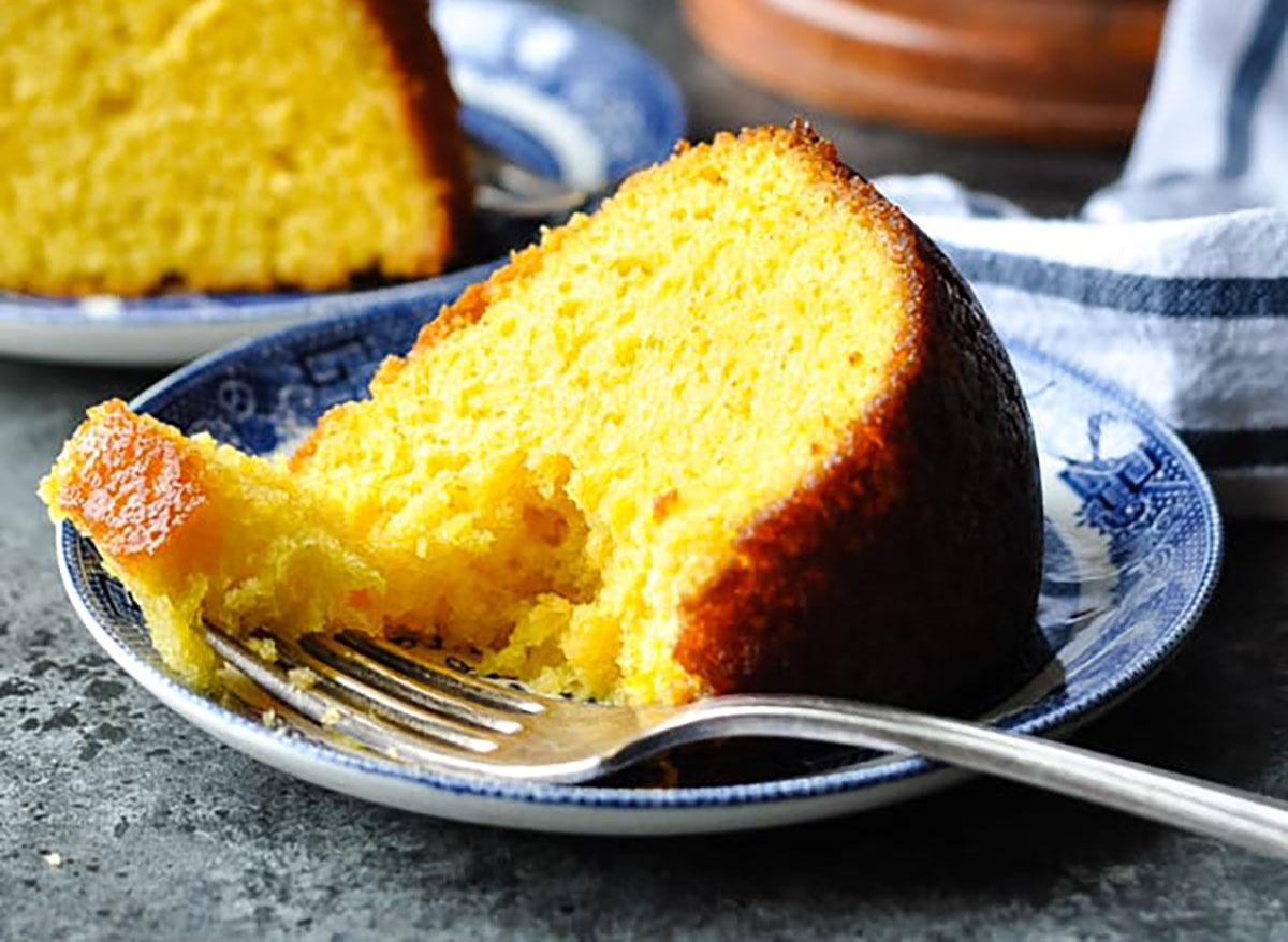 slice of orange juice cake with fork