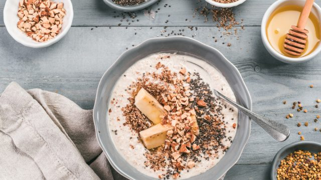 overnight oats oatmeal with chopped almond nuts chia seeds flax honey bee pollen
