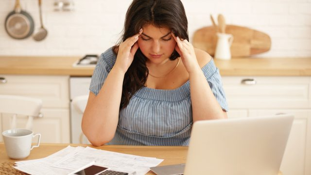 woman stressed with work
