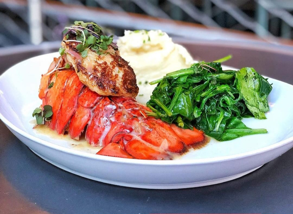 lobster tail stuffed with crabmeat and sauteed spinach