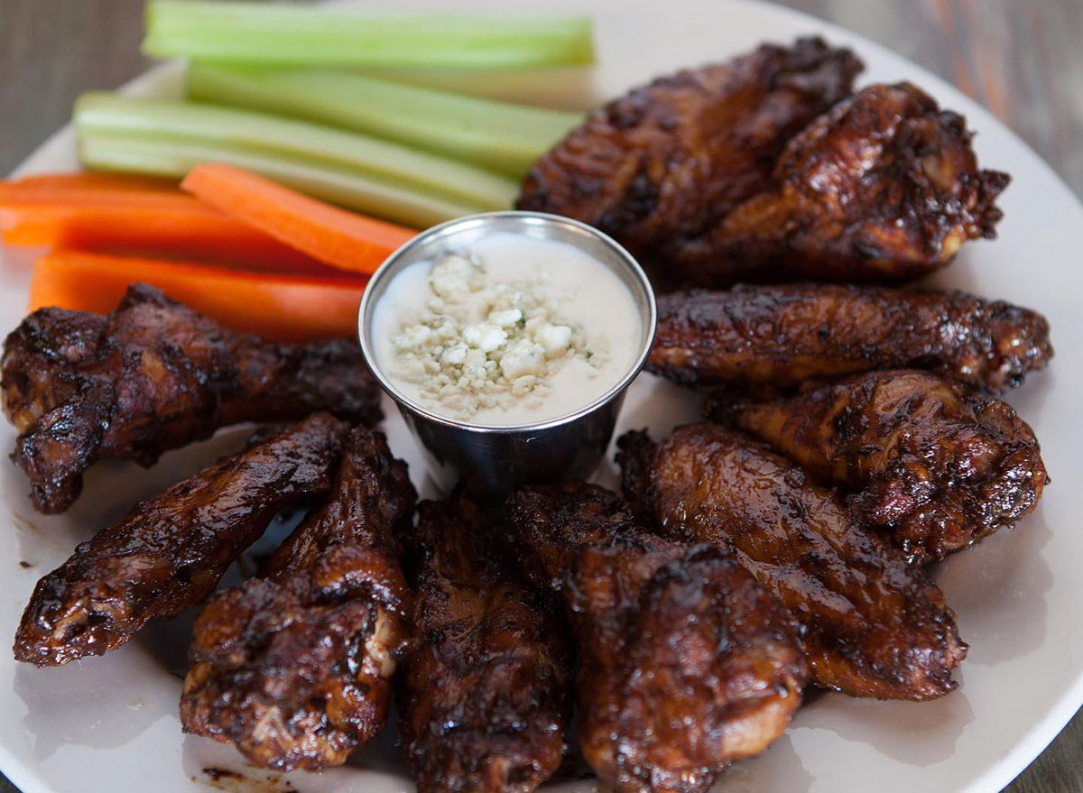 wings and carrot sticks with dip