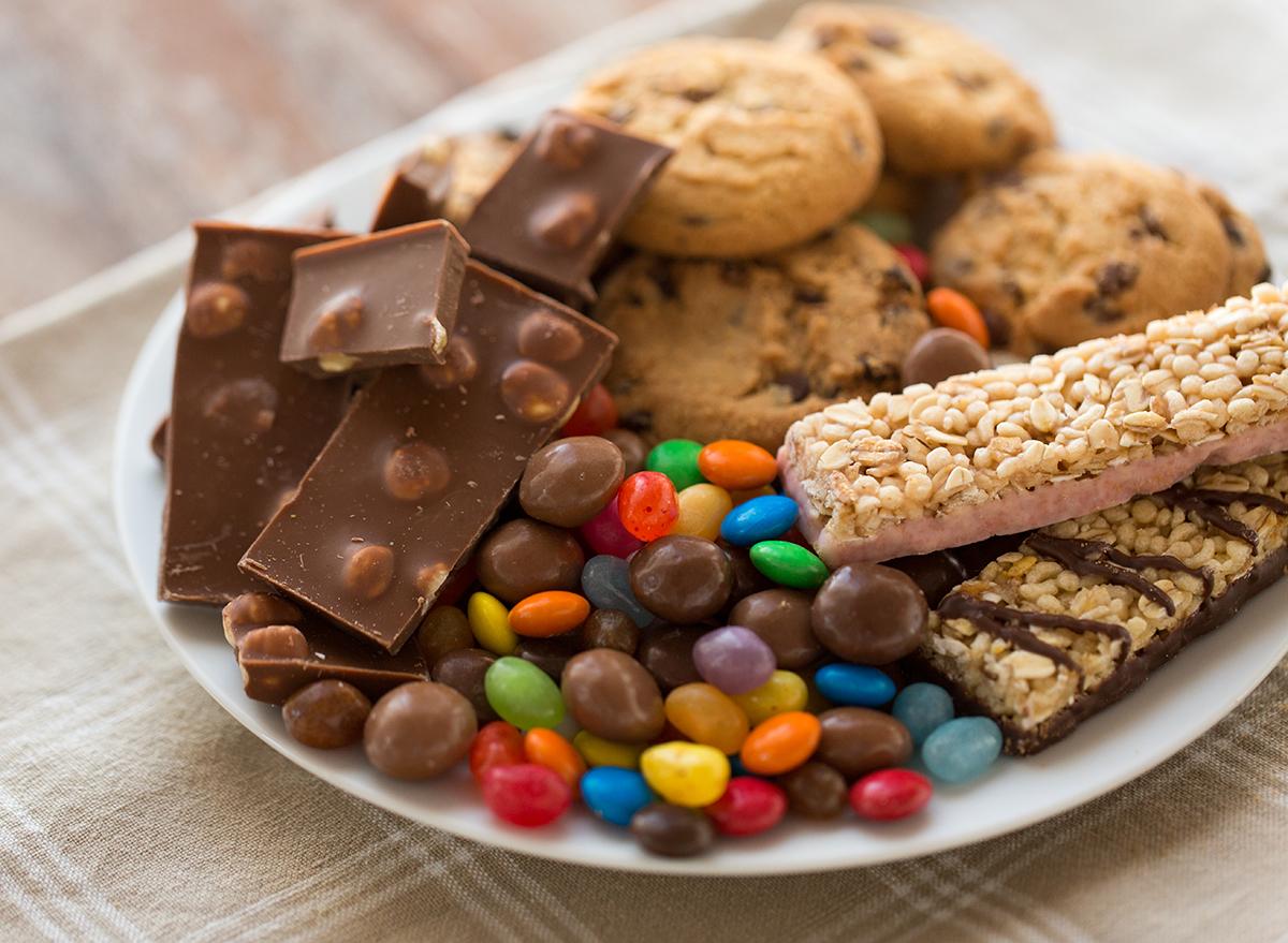 sugary snacks on a white plate
