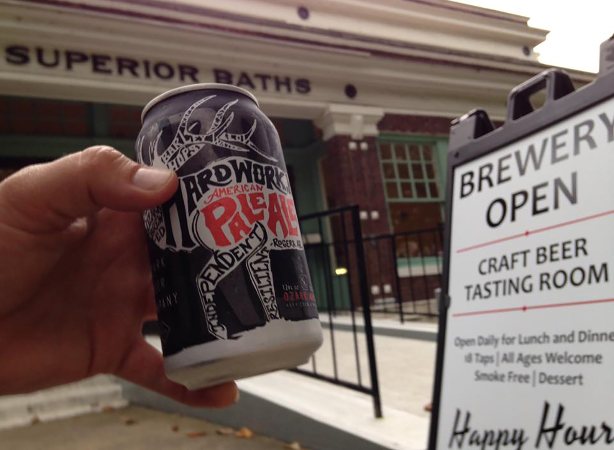 can of beer in front of superior bathhouse brewery