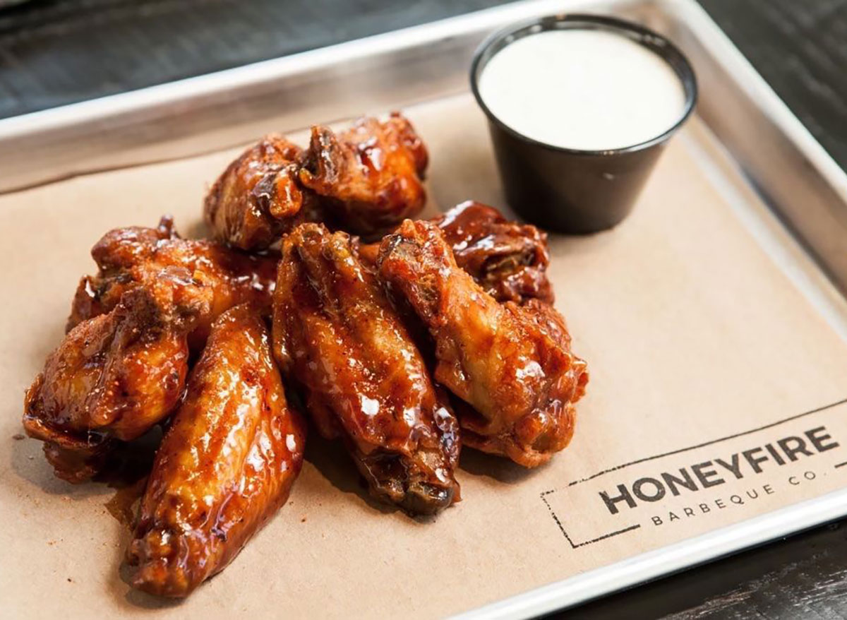 plate of chicken wings with ranch dip