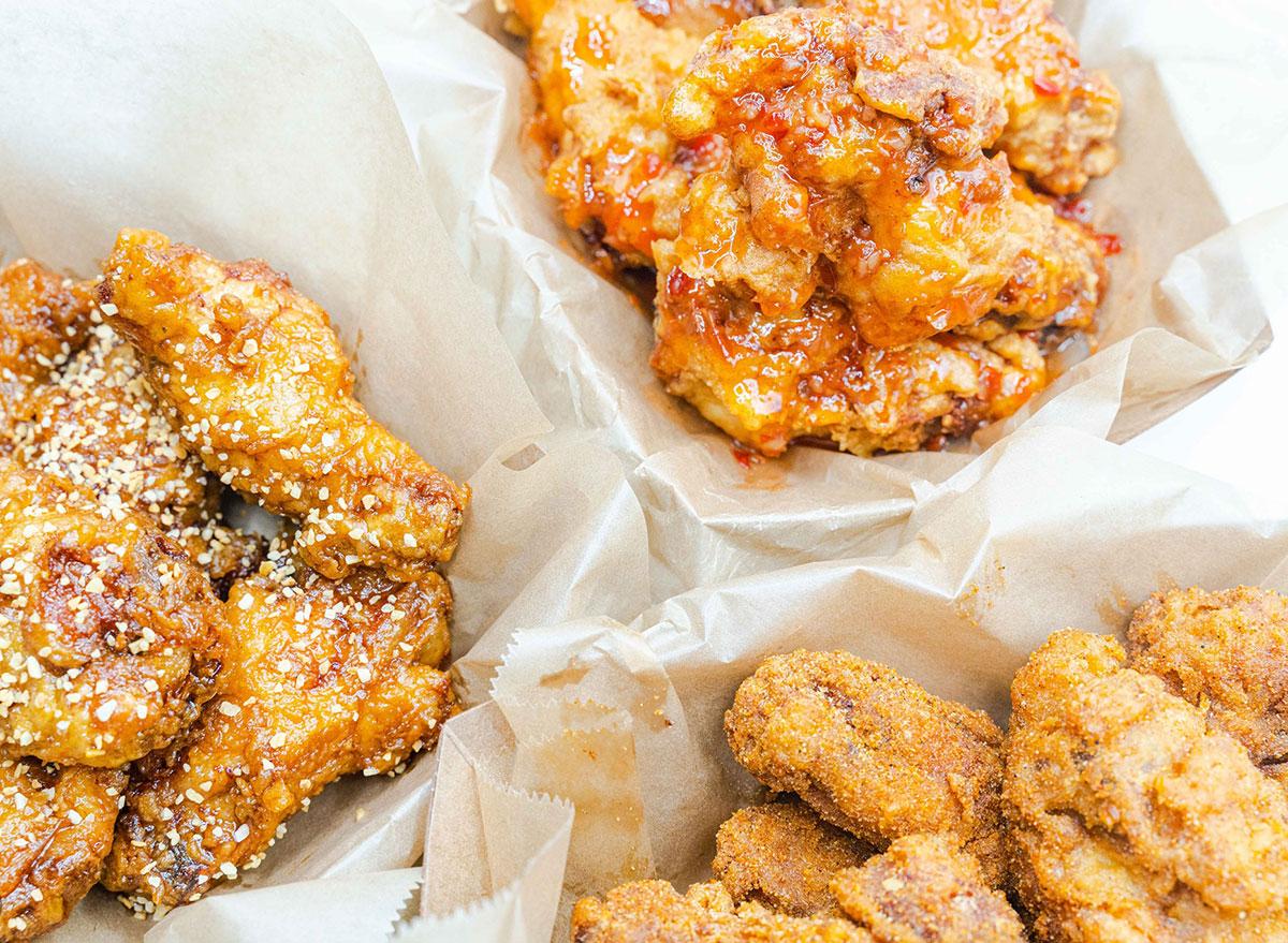 fried chicken wings in baskets