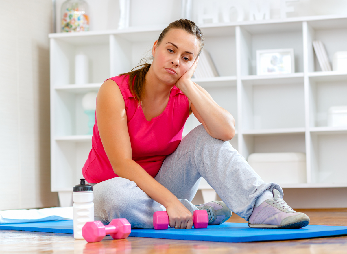 woman doesnt want to work out or exercise is tired