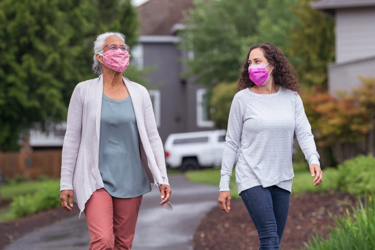 Two women wearing protective face masks enjoying the outdoors during Coronavirus