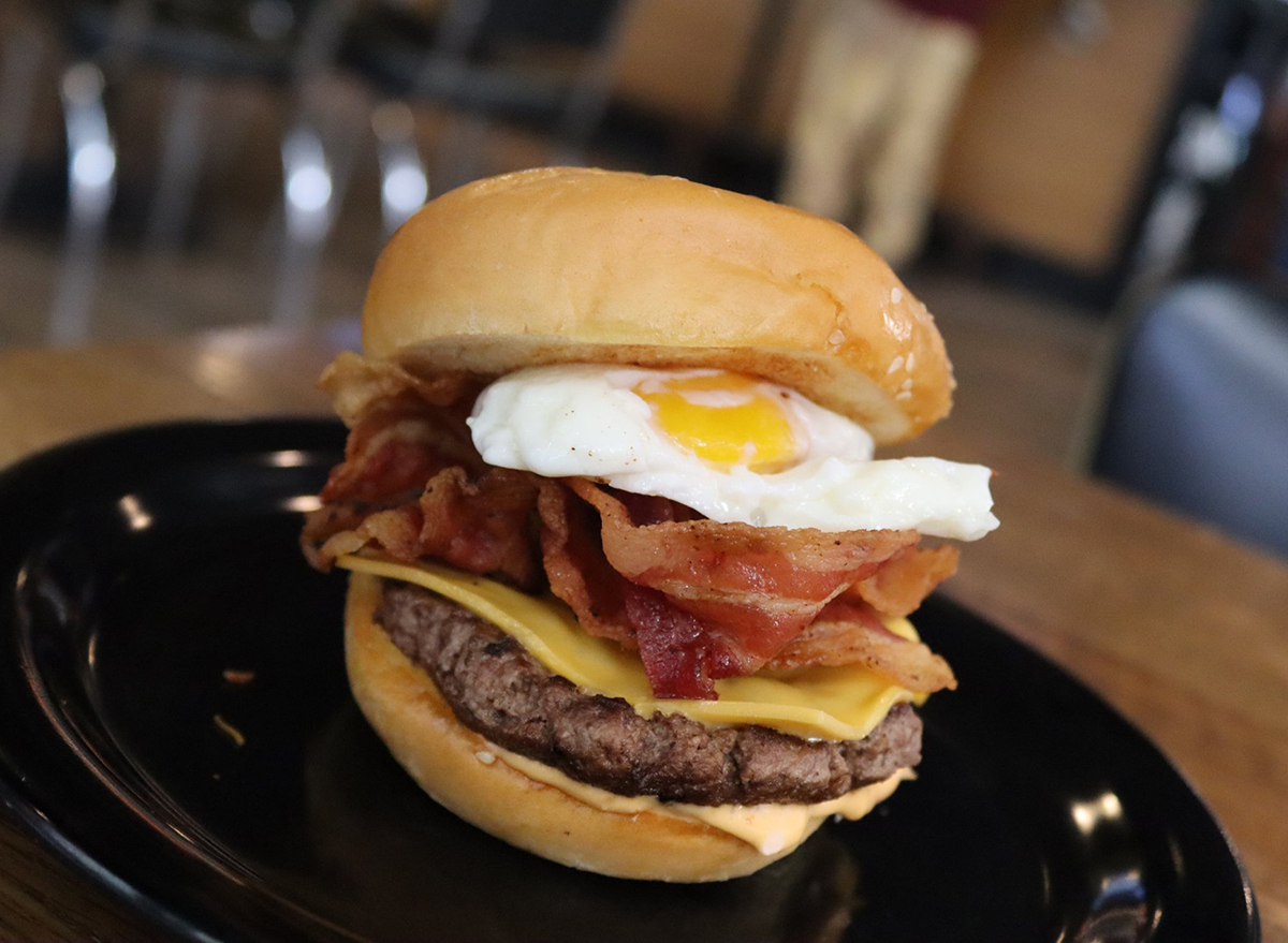 breakfast burger with fried egg and bacon