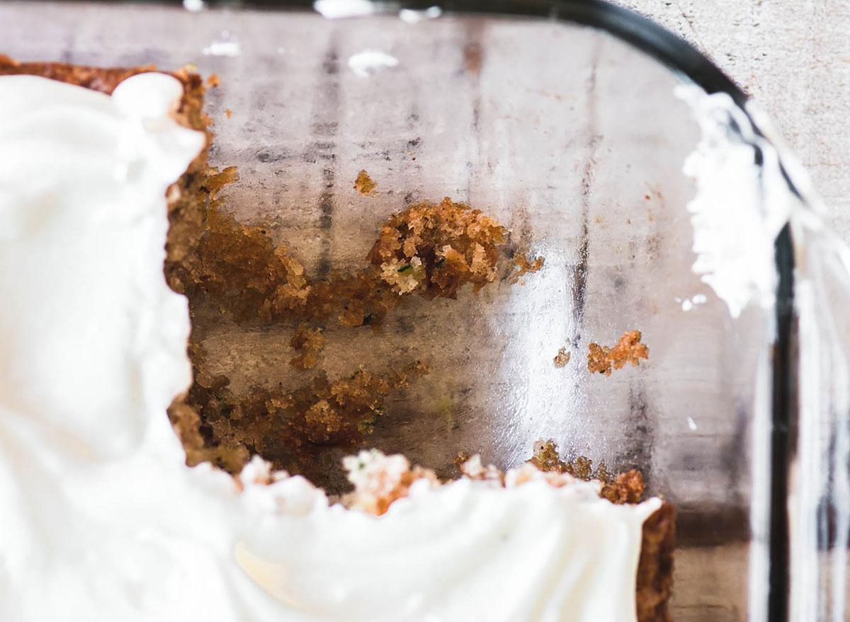 glass baking dish with zucchini cake