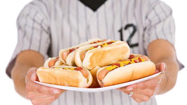 baseball, hot dogs